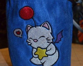 Dice Bag Final Fantasy Moogle Embroidered Blue suede