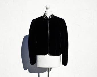 Black velvet jacket pearl jacket pearl jacket pearl beaded jacket embroidered jacket black formal jacket evening jacket 80s jacket