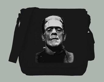 Frankentstein Monster Black or Natural Canvas Messenger Bag, 15x11x4