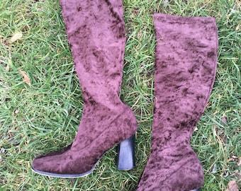 ON SALE! Vintage Women's Brown Velvet Go-Go Boots size 6M
