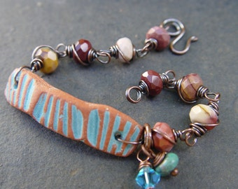 Gecko - Terra Cotta Stoneware and Mookaite on Copper Bracelet