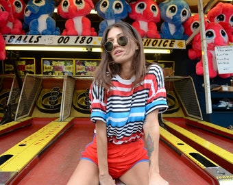 Vintage 80's Red, White, & Blue Striped T-Shirt Sz M