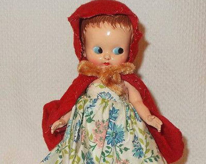 "6"" Vintage 70s Red Riding Hood Plastic Molded Arts Doll Co Blue Flirty Eyes Hard Plastic Jointed Doll"