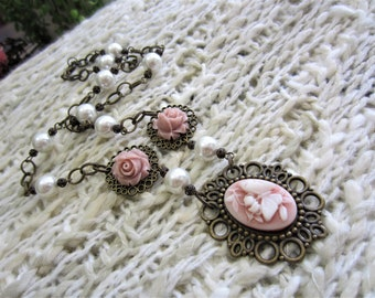 Bronze Filigree Butterfly Cameo & Shell Pearl Pendant Necklace
