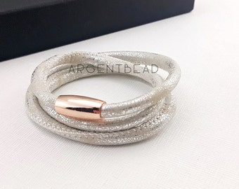 1pc  24inch length PU Eco Leather Triple Wrap Bracelet silver rose gold Magnetic Clasp / wedding bracelet/bridal wedding bracelet AG0011