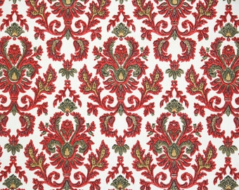 1900's Antique French Damask Wallpaper - Beautiful Red and Green Antique Damask Wallpaper