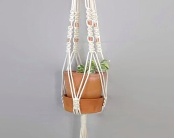 Macrame Plant Hanger with Copper Beads | Natural White Cotton Rope | Indoor Hanging Planter | Plant Pot Holder | Boho Decor | Interior Plant