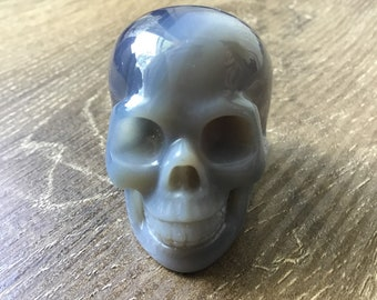 Hand-Carved Realistic Blue Lace Agate Crystal Skull
