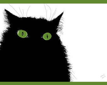 Cat Greeting Card, Blank, Green-Eyed Clover Design No A6011