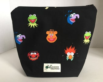 Knitting Project Bag, Wedge Bag, Zippered Bag, Sock Size, Muppets