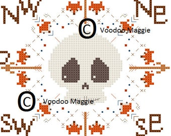 Skull and Foxes Compass Cross Stitch Pattern PDF