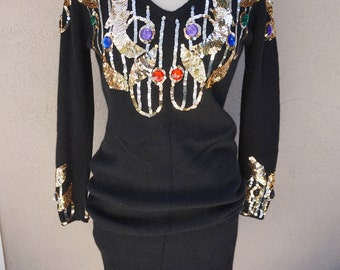 80's 90's Black Sweater Dress with Gold Sequins and Beading, Angora Sweater Dress, Long Sleeve Black Tunic, Black Vneck Dress, Beaded Dress