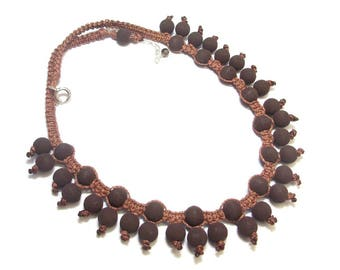 Necklace ethnic lava stone