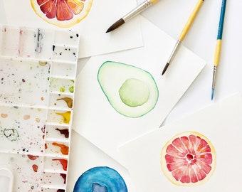 Fruits and Veggies Digital Download / Blueberry / Avocado / Grapefruit / Blood Orange