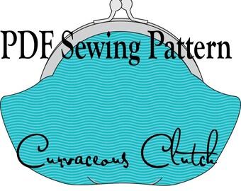 Curvaceous Clutch by Toriska, PDF sewing pattern, digital purse pattern, sewing tutorial, round frame clutch pattern, framed bag