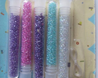 KIT necklace or bracelet with seed beads - blue, pink, green and white