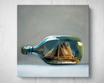 Ship in a Bottle - Fruit Oil Painting Giclee Gallery Mounted Canvas Wall Art Print