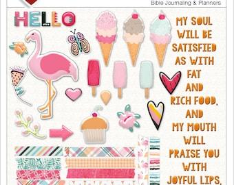 Sale! New: Flamingo & Ice Cream Printable Bible Journal BOTH Digital Kit and Printable, Pink, Orange
