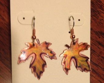 Flame Painted Copper Maple Leaf Earrings