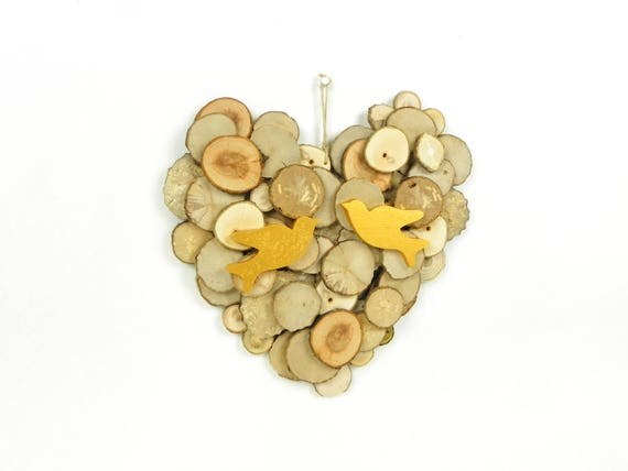Wall decoration in wood wall sculpture wooden heart wooden