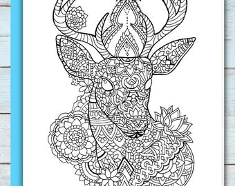 Printable Mandala Deer Coloring Page