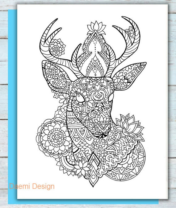 Printable Mandala Deer Coloring Page