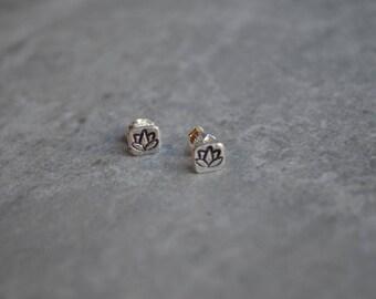 lotus sterling silver stud earrings