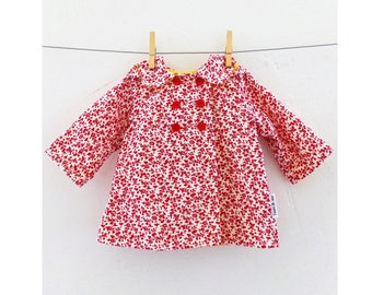 DOT POP Hooded Baby Girl Jacket pattern Pdf sewing,  Raincoat Double Breasted In seam Pockets, Toddler newborn 3 6 9 12 18 m 1 2 3 4 5 6 yrs