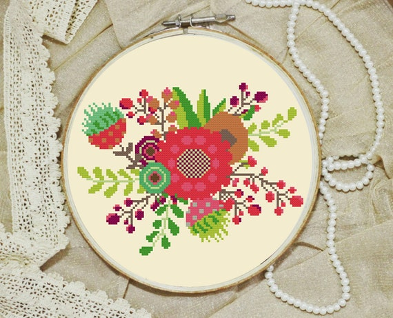Modern Cross Stitch Pattern Flowers Bouquet Funny Hand Embroidery