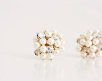 Wedding Jewelry Pearl and Rhinestone Cluster Stud Bridesmaid Earrings