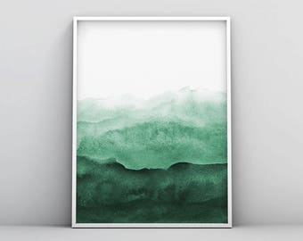 Abstract Wall Art Print, Green Painting, Emerald, Teal Decor, Modern  Minimalist,