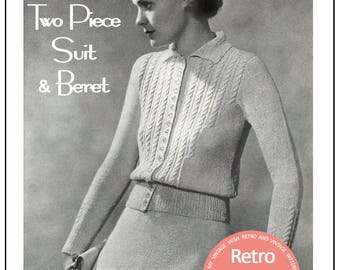 1930's Two Piece Suit and Beret Knitting Pattern - Instant Download - PDF Instant Download - PDF Knitting Pattern
