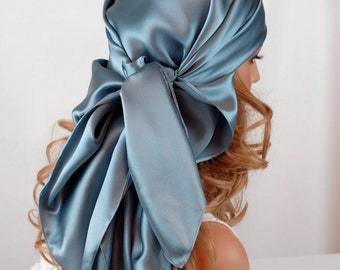 Silk Hair Sleep Scarf or Day Scarf Sizes, Smoky Blue Charmeuse Silk Scarf for Hair Care and Fashion