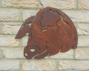 Metal Pig Decor / Rusty Metal Pig Garden Gift / Rusty Metal Decor / Pig  Garden Decoration / Pig Gift / Pig Garden Wall Decor / Pig Head Gift