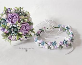 Purple mint wedding set Alternative wedding bouquet Purple wedding bouquet Mint Succulent headwreath Keepsake succulent bouquet Bouquet Set