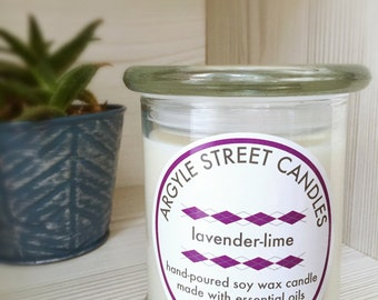SALE Hand Poured Lavender-Lime Soy Wax Glass Container Candle Essential Oil