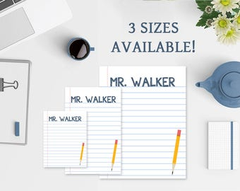 Teacher Notepad - 3 Sizes Available - Notebook Paper Notepad for Teachers - Teacher Gifts - Teacher Stationery - Personalized Notepad