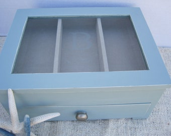 """Personalized  """"B""""  Shabby Painted Robin's Egg Blue Jewelry Box with Drawer"""