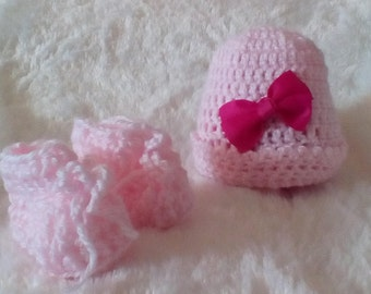 Pink Crochet Infant Hat and Booties