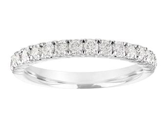 Diamond Wedding Ring White Gold, Half Eternity Wedding Band,  Diamonds Anniversary Ring, 0.50 Carat Certified Handmade