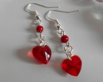 Heart and red pearls earrings