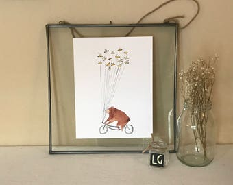 Bear on Bicycle with Bee Balloons Watercolor Print