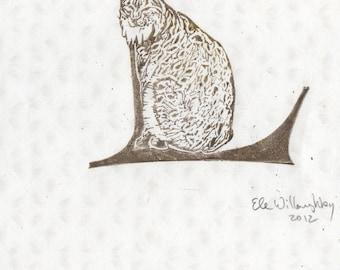 Lynx L Monogram Linocut - Alphabet Typographical Lino Block Print with Wildcat - L is for Lynx