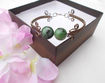 Epidote bracelet , wire bracelet , wire wrapped jewelry , wire wrapped bracelet , wire jewelry , gemstone bracelet , handmade jewelry