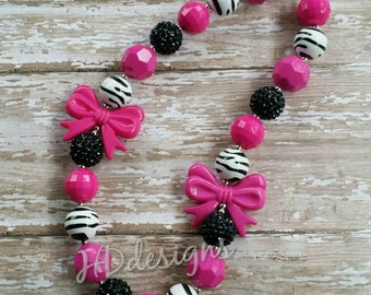 Pink and Brown Chunky Bubblegum Necklace-Children-Toddler-Gift-Photo Prop-Jewelry-Bead Necklace