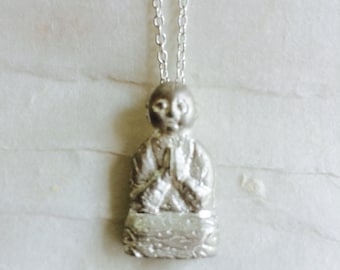 Silver Jizo Pendant, Jizo Necklace, Silver Buddha Jewelry, Buddhist Jewelry, Meditation Jewelry, Spiritual Necklace, Buddha Accessories