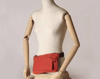 Frankfurt fanny pack, mini bag. Dual purpose. Two departments. Oranged Red Fabric