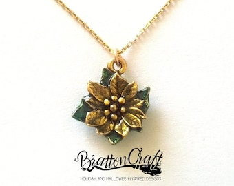 Gold Poinsettia Necklace with Sheer Yellow and Green Epoxy Resin - Silver Poinsettia Necklace - Christmas Necklace - Christmas Jewelry