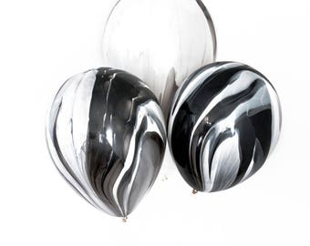 Black and White Marble Balloon Set - Marble Balloons, Black Marble Balloons, Agate Balloon Set