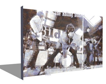 The Rolling stones 1966 100% Cotton Canvas Print Using UV Archival Inks Stretched & Mounted